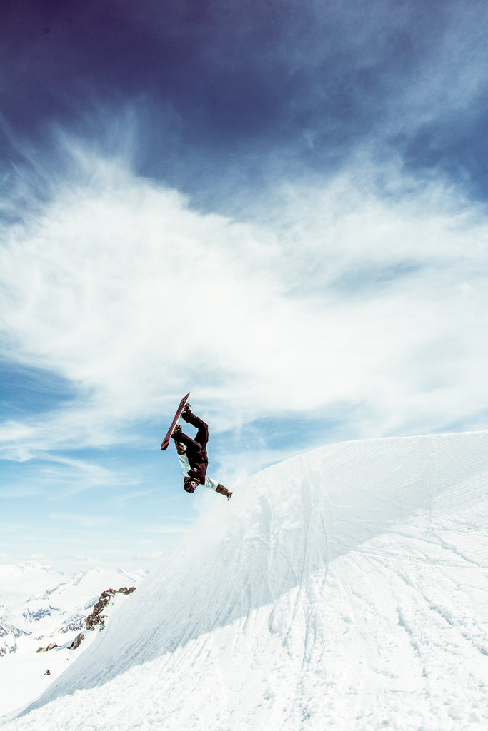 snowboarder on a bluebird day