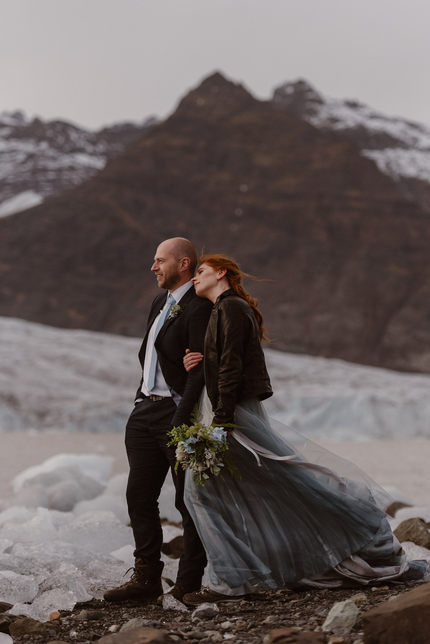Bride and groom in winter wedding