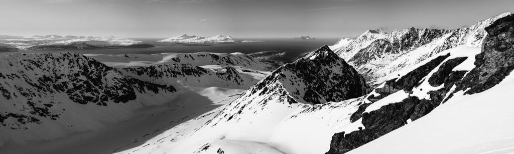 Panorama image of mountains in black and white