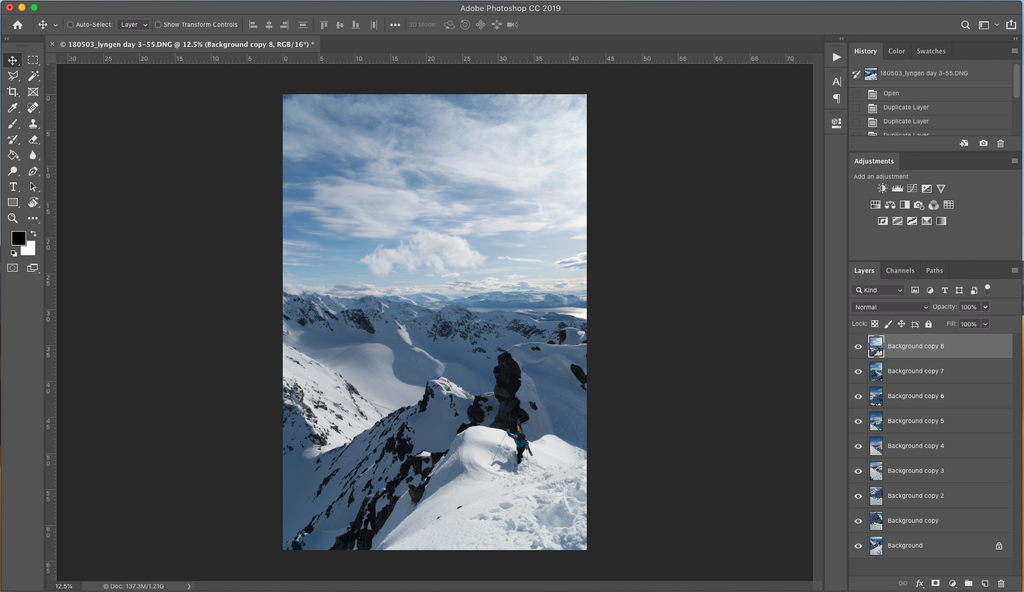 Merging panorama photo in photoshop