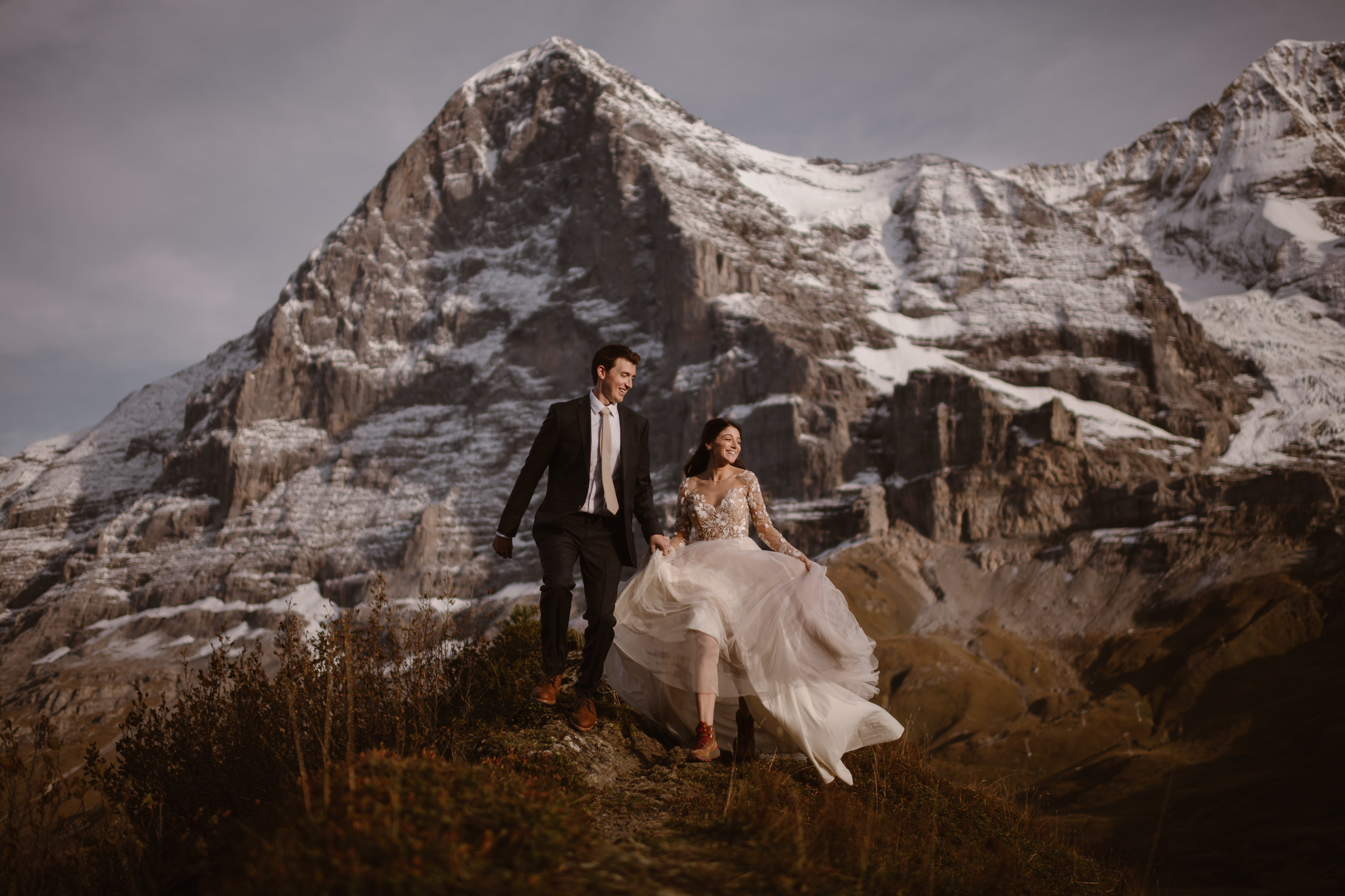Bride and groom eloping on a mountaintop