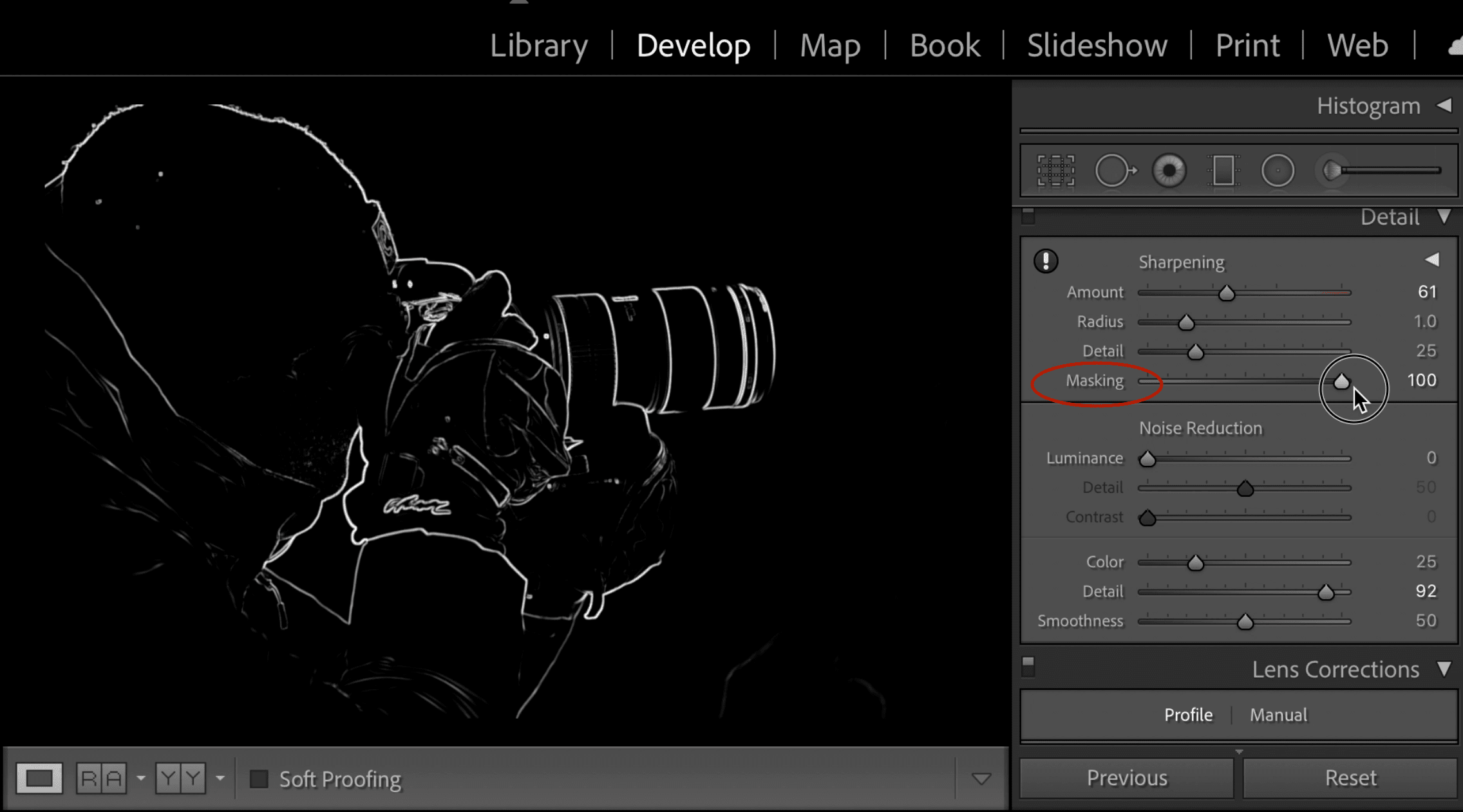 Mask sharpening in lightroom