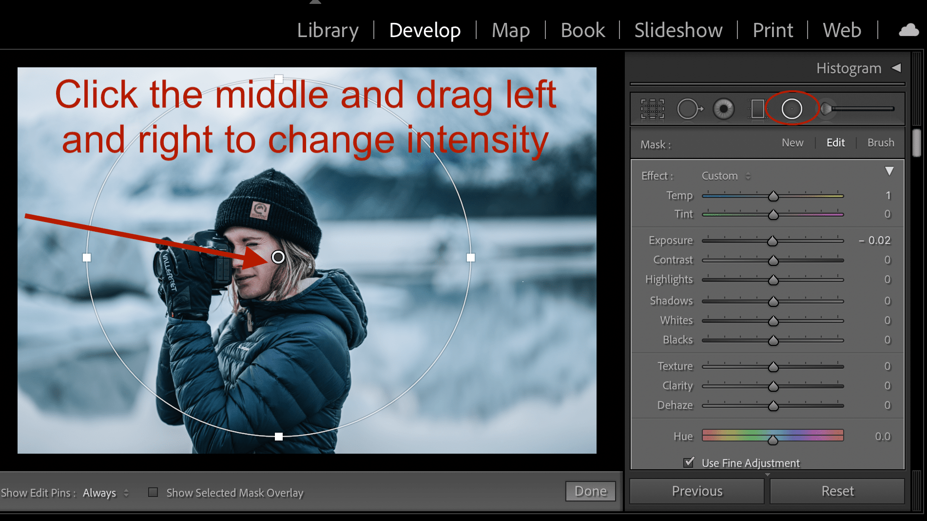 radial adjustment tool in lightroom