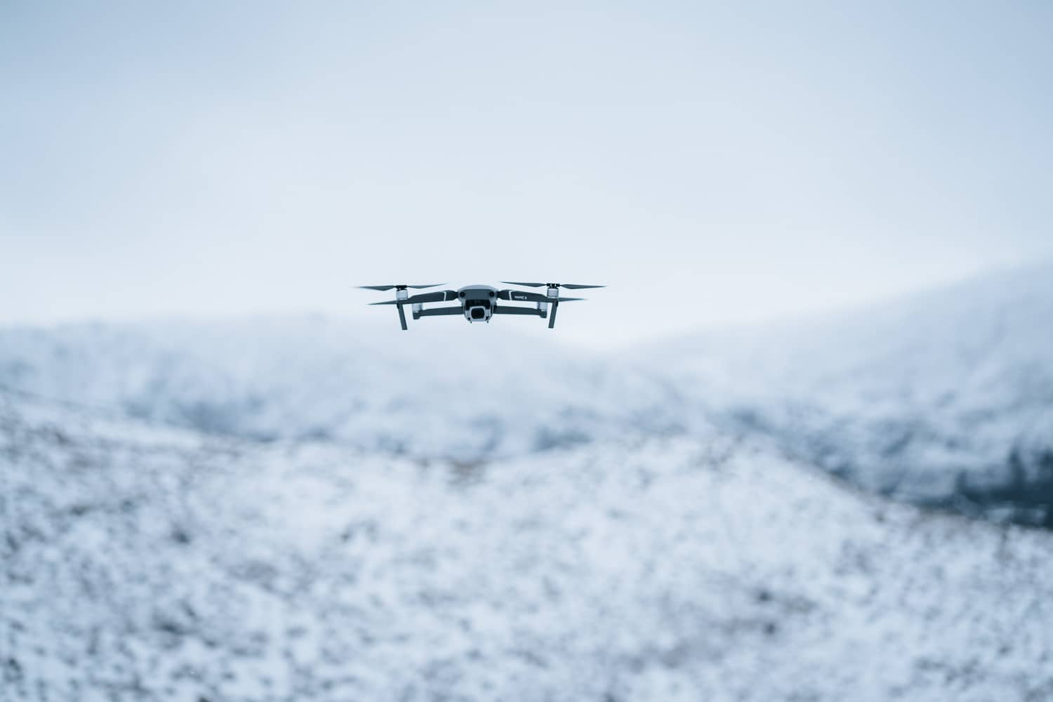 drone in the air in winter