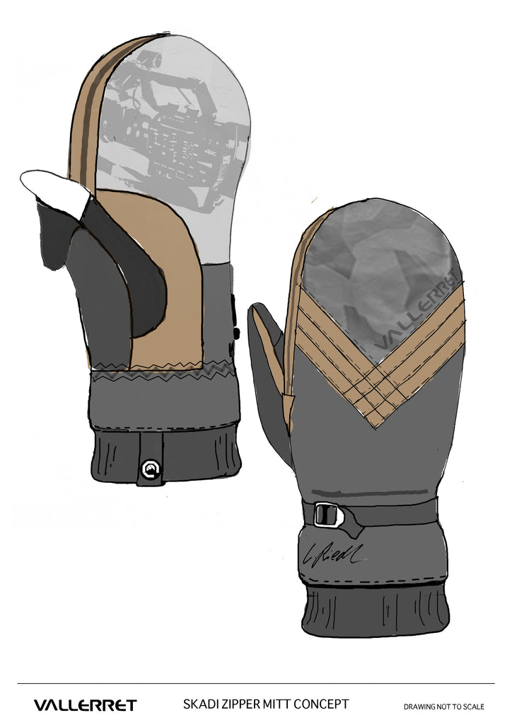 Original sketch of the skadi zipper mitt.