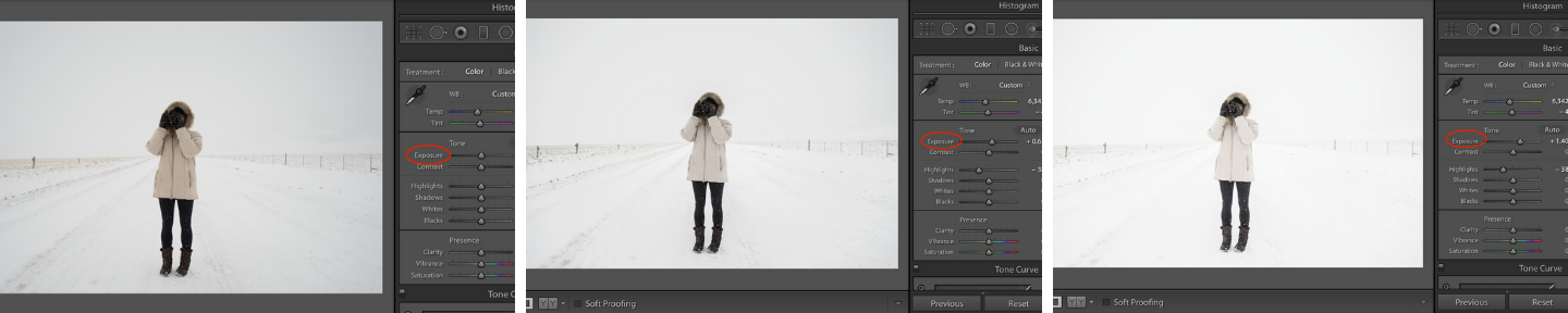 Exposure adjustment in lightroom for snowy picture