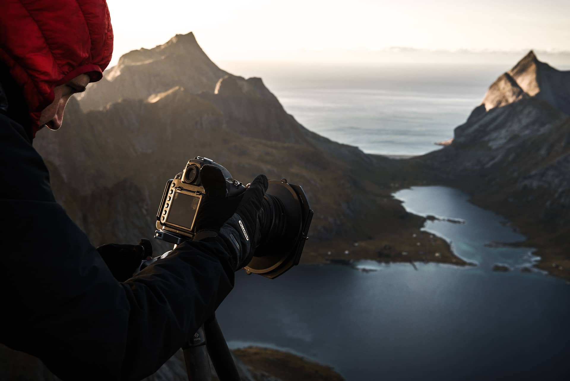 Christian Hoiberg taking a photo in lofoten in the mountains