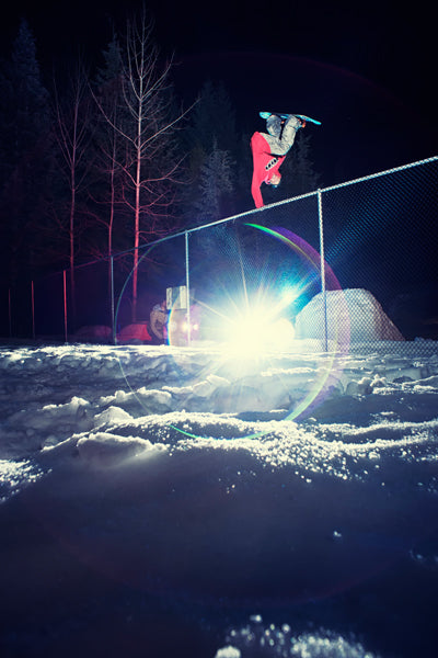 snowboarder in the park at night