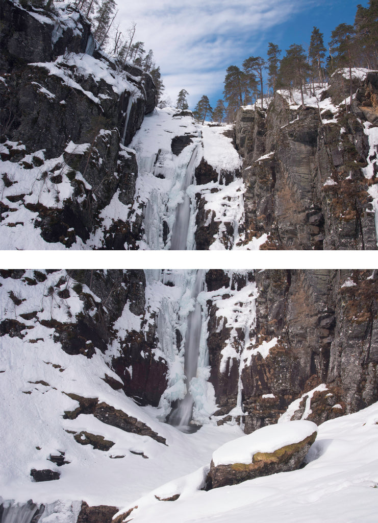 Vertical Panorama of a waterfall in winter