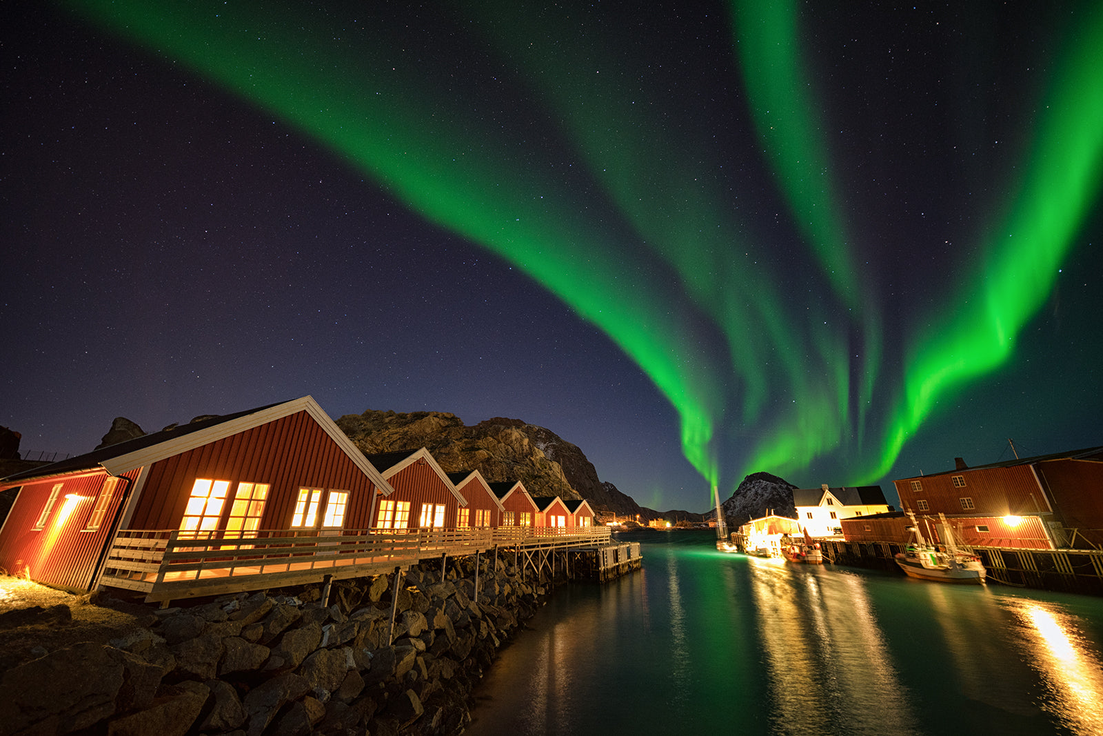Mortsund Lofoten with Northern Lights