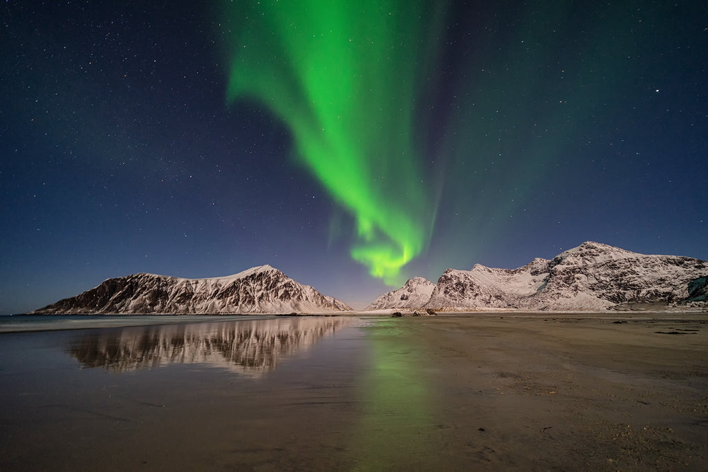 Skagsanden beach at night with northern lights