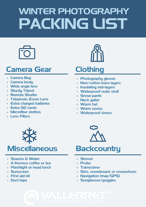 Winter Photography Packing Check List