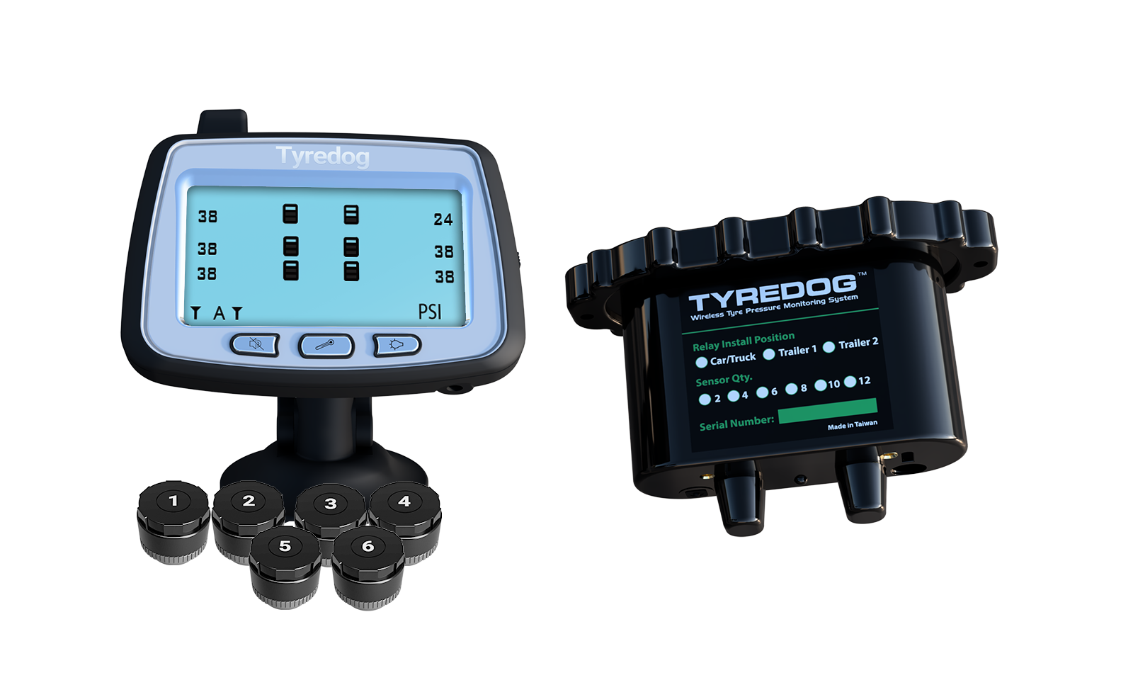 Tyredog 6 Wheel Tyre Pressure Monitoring System for Caravan Trailer
