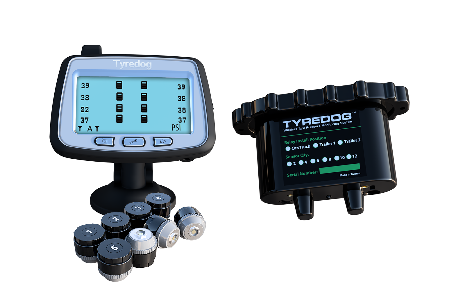 Tyredog 8 Wheel Tyre Pressure Monitoring System for Caravan and Trailer
