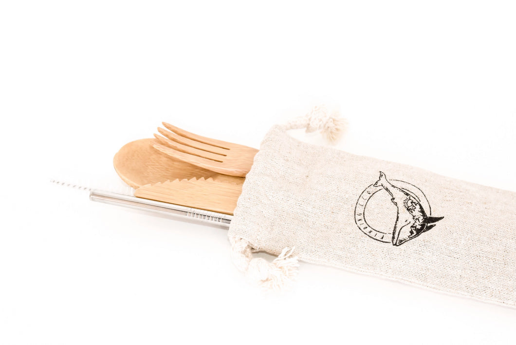 Organic Bamboo Utensils with Straw
