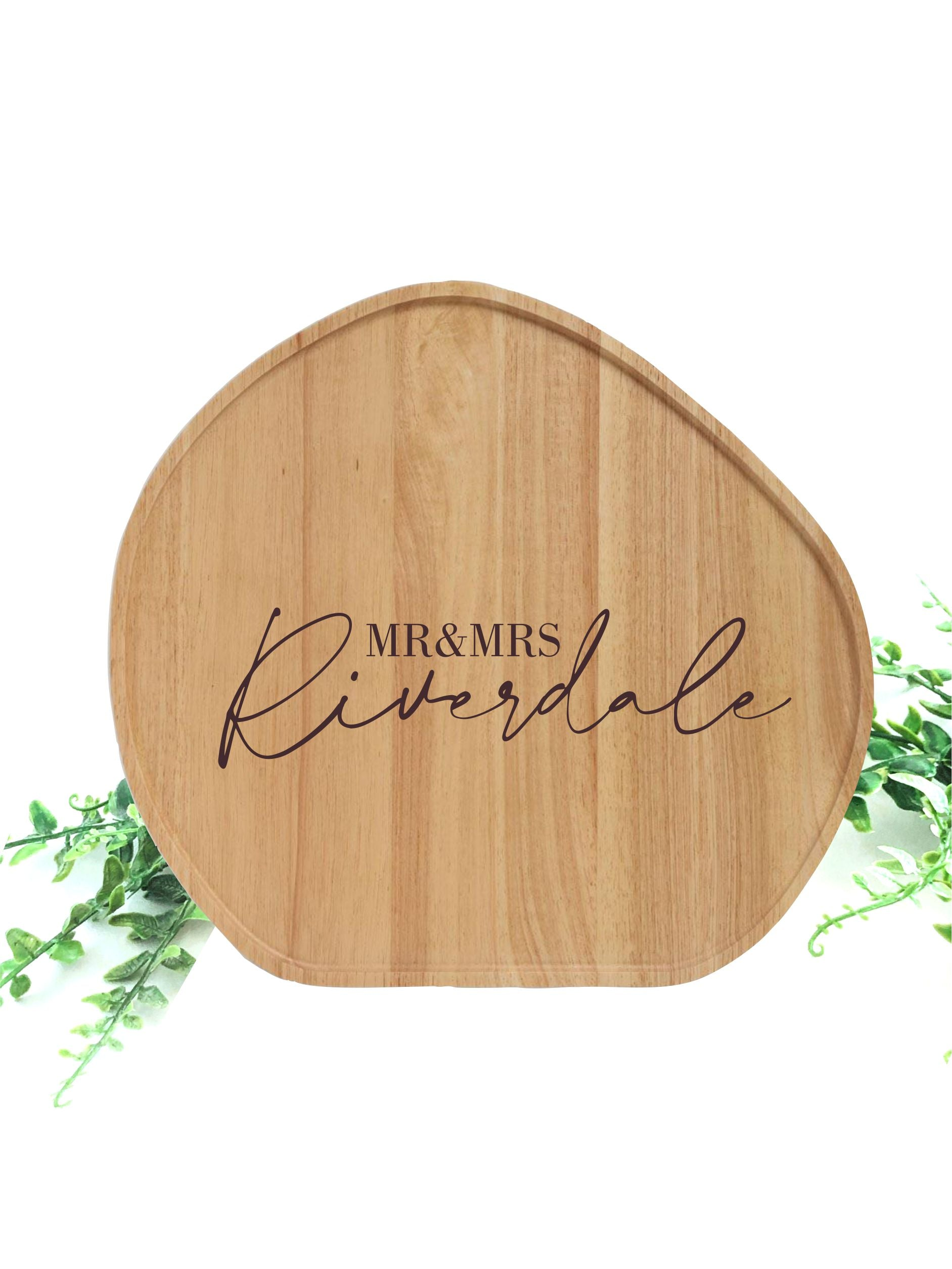 Custom engraved circular serving platter M/L