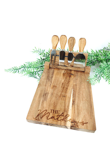 Magnetic custom engraved serving board + knife set
