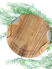 Round serving board + knife set