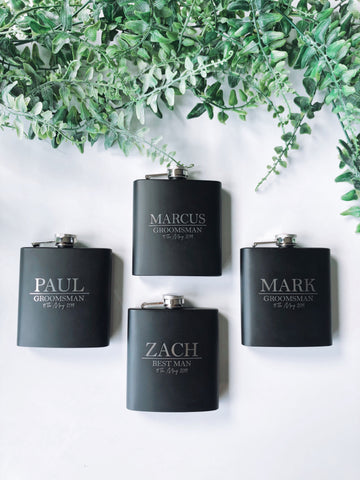 Custom engraved flask set