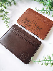 Custom engraved leather bill holder