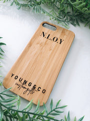 Custom engraved bamboo phone case