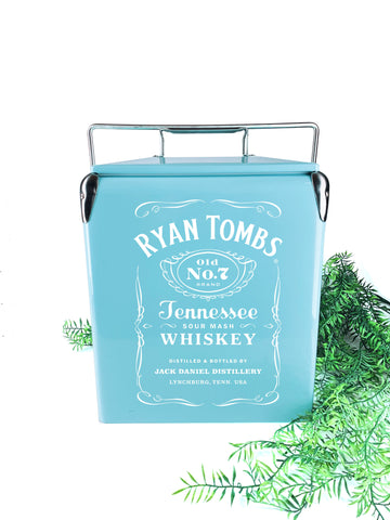 Custom light blue vintage cooler