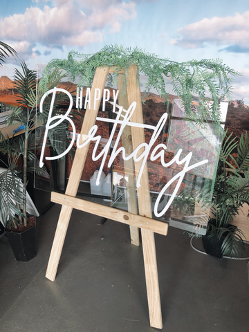 ACRYLIC HAPPY BIRTHDAY HIRE SIGN