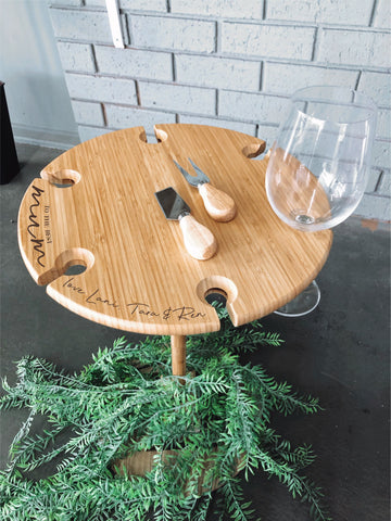 Custom engraved picnic wine & cheese set