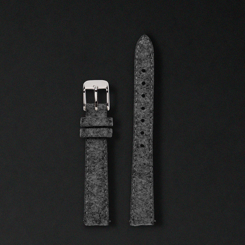 14MM ANTHRACITE WOOL Silver Buckle