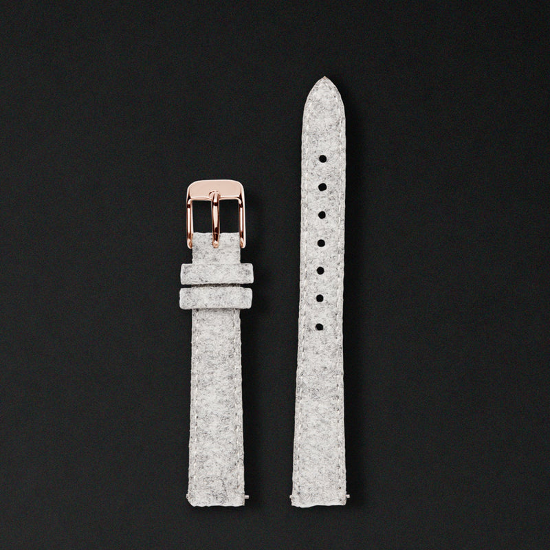 14MM LIGHT GREY WOOL Rose Gold Buckle For Saga Watches