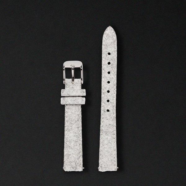 14MM LIGHT GREY WOOL Silver Buckle For Saga Watches