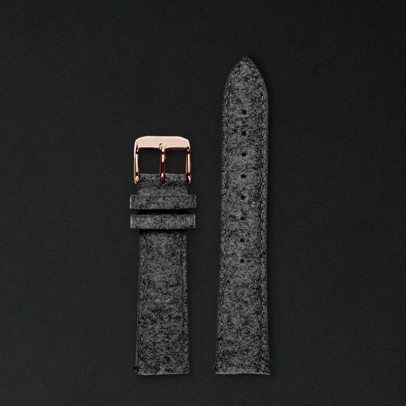 20MM ANTHRACITE WOOL Rose Gold Buckle