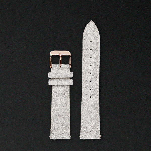 20MM LIGHT GREY WOOL Rose Gold Buckle