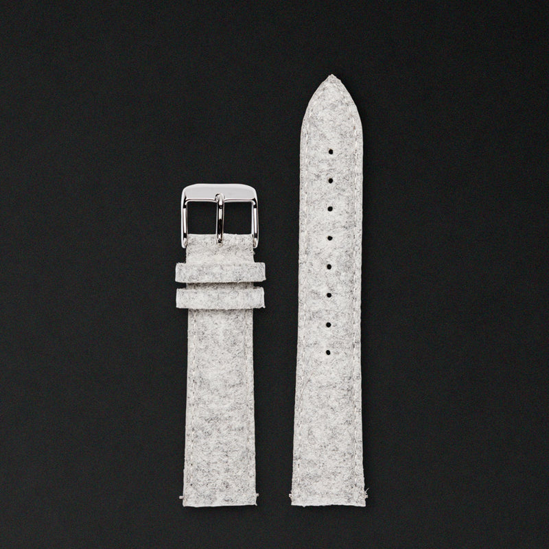 20MM LIGHT GREY WOOL Silver Buckle