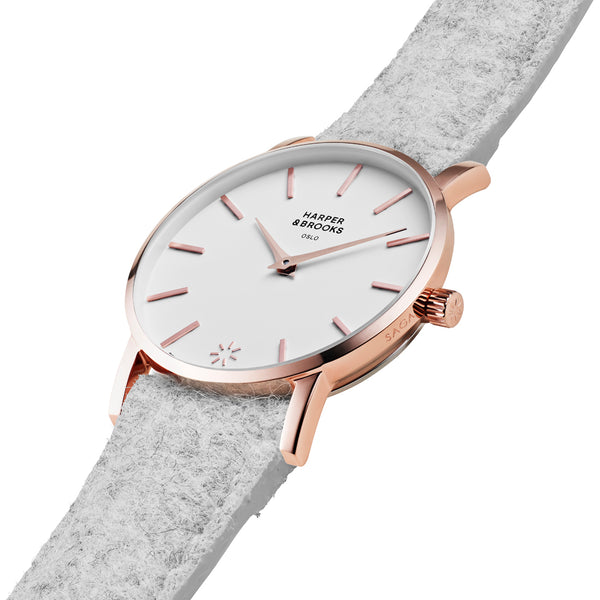 SAGA 28MM WOOL LIGHT GREY White / Rose Gold