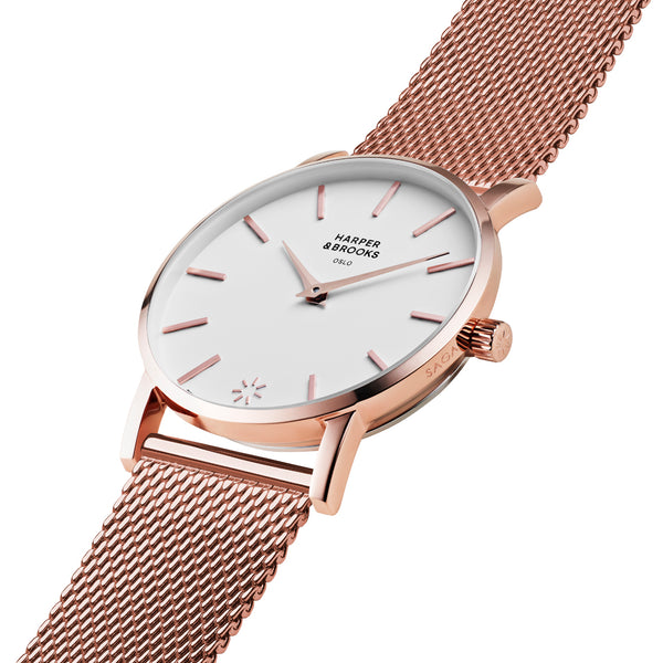 SAGA 28MM MESH ROSE GOLD White / Rose Gold