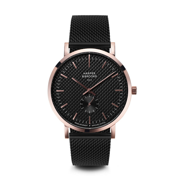 TEXTURE 40MM MESH BLACK Jet Black / Rose Gold