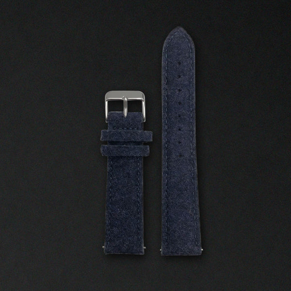 20MM MIDNIGHT BLUE WOOL Silver Buckle