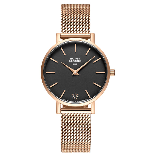 SAGA 32MM MESH ROSE GOLD Black / Rose Gold