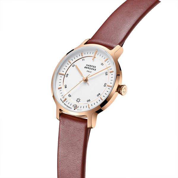 Bauhaus 28mm Rose Gold/Red