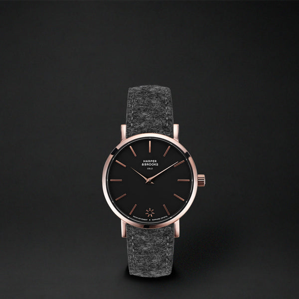 SAGA 28MM WOOL ANTHRACITE Black / Rose Gold
