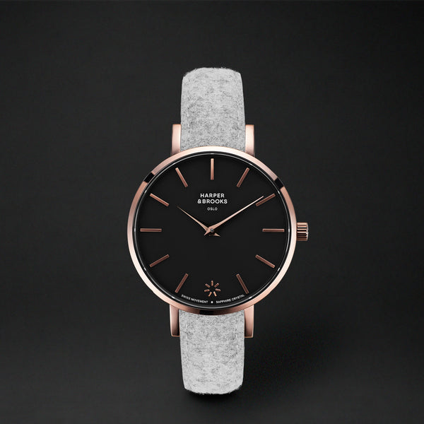 SAGA 32MM WOOL LIGHT GREY Black / Rose Gold