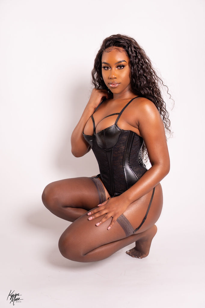 Sweet Talk Leather Corset Set