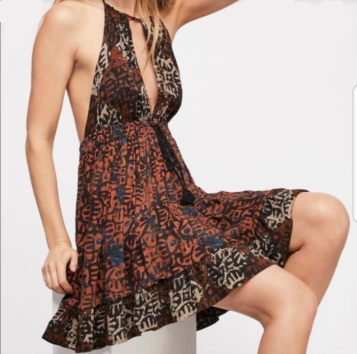 Free People Beach Day Halter Dress Brown Small
