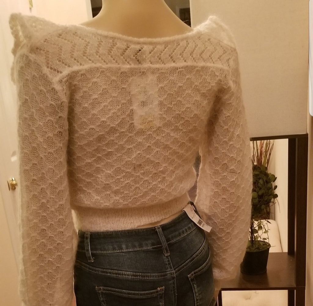 Free People Ivory Macaroon Sweater Size M