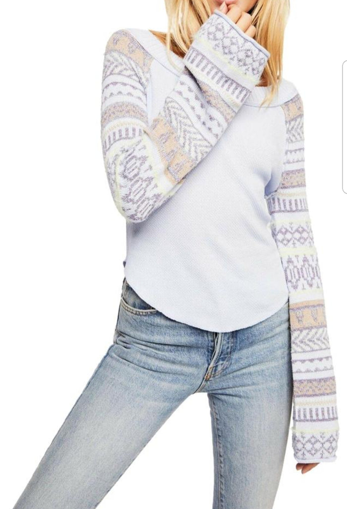 Free People Fairground Striped-Sleeve Thermal Periwinkle Combo XS