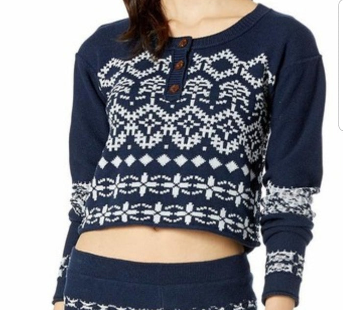 Free People Cabin Day Sweater Blue XS