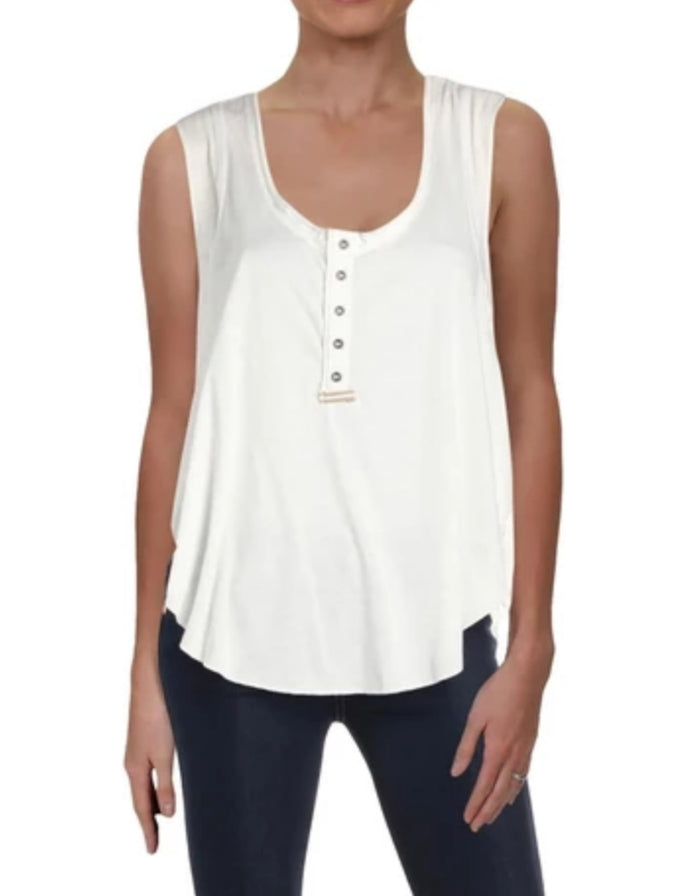 Free People White Women's High Tide Cropped Side Tie Tank Top Size Large