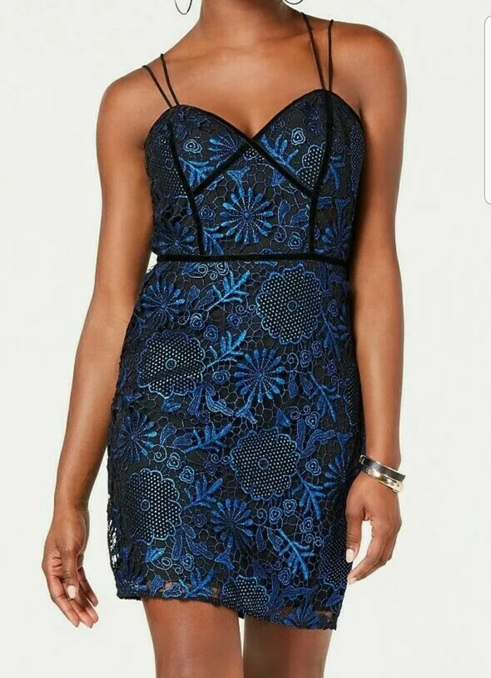 Guess Adina Lace Bodycon Dress Jet Black Multi 4
