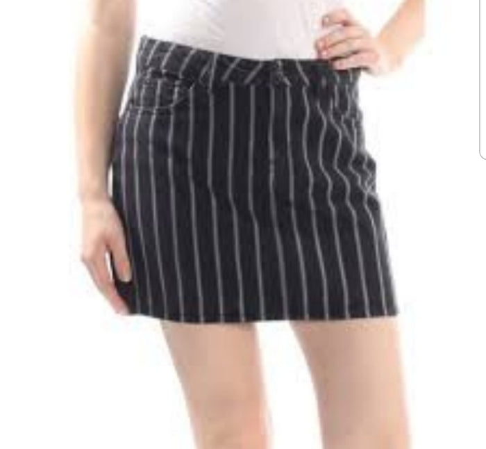 Vanilla Star A-Line Mini Skirt Black with White Stripes